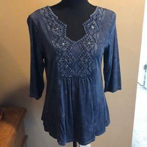 Embellished 3/4 Sleeve Top
